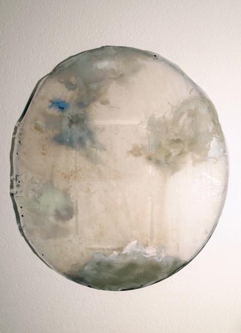 progrbarock, Öl auf Tischdecke und Kunststoffreifen, ca. 150 x 50 cm, 2014